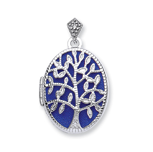 9ct White gold Oval shaped Tree of life locket 1.9g