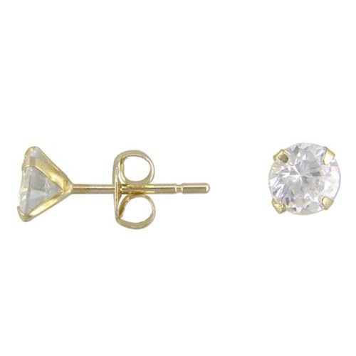 4mm Round Cubic Zirconia 9Ct Gold Stud Earrings
