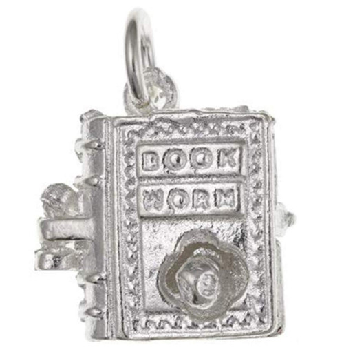 Sterling Silver Opening Book Worm Charm