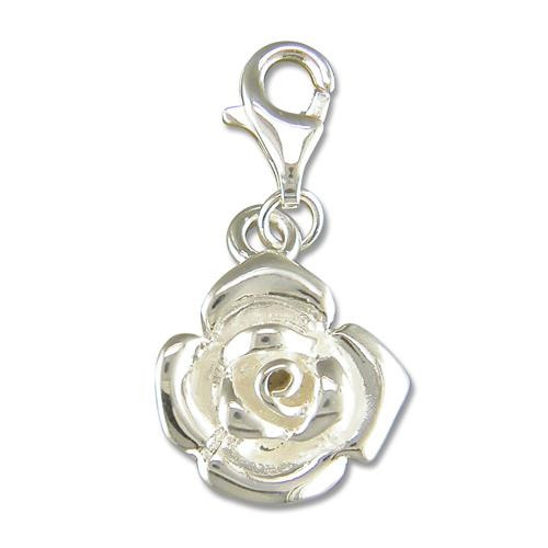 Sterling Silver clip-on solid rose Charm