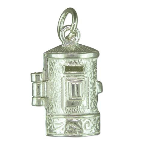 Sterling Silver Large opening post box Charm