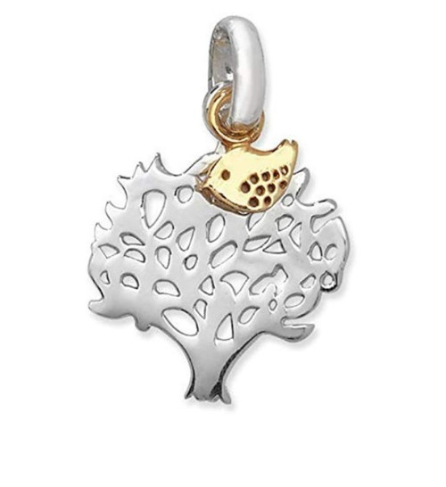 Sterling Silver Tree Pendant with Gold Plated Bird