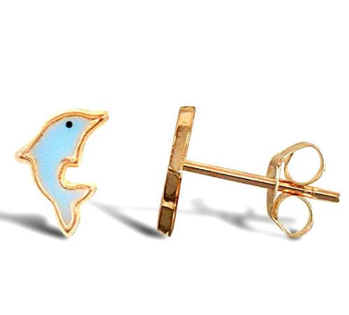 9ct Gold enamelled Dolphin stud Earrings