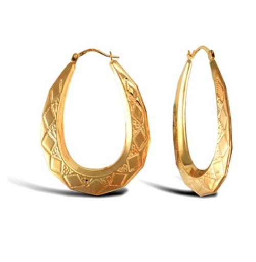 9ct Yellow Gold Pear Shape Diamond Pattern Creole Earrings 2.2g