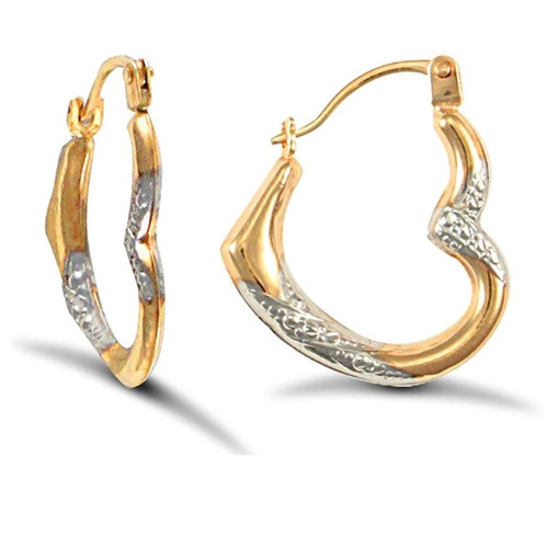 9ct Yellow and White Gold diamond cut Heart Creole Earrings