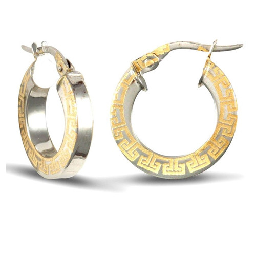 1.6cm wide 9ct Yellow and white gold Greek key square profile hoop earrings