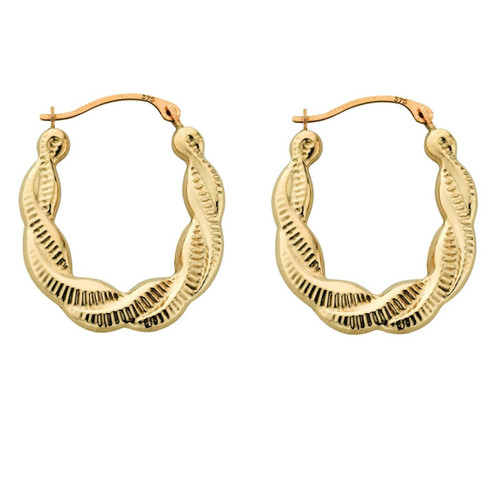 9ct Gold Fancy Twist creole earrings 0.8g