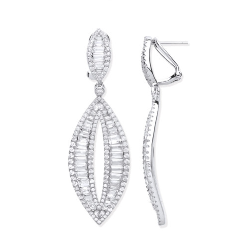 Sterling Silver Baguette Cubic Zirconia statement Drop earrings
