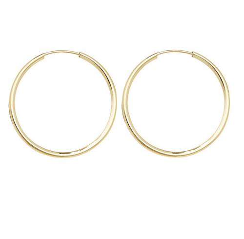 2.5cm wide 9ct gold sleeper hoop earrings