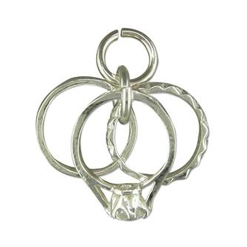 Sterling Silver three ring charm Engagement, wedding and eternity