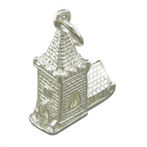 Sterling Silver Opening Church Charm with Bride and Groom