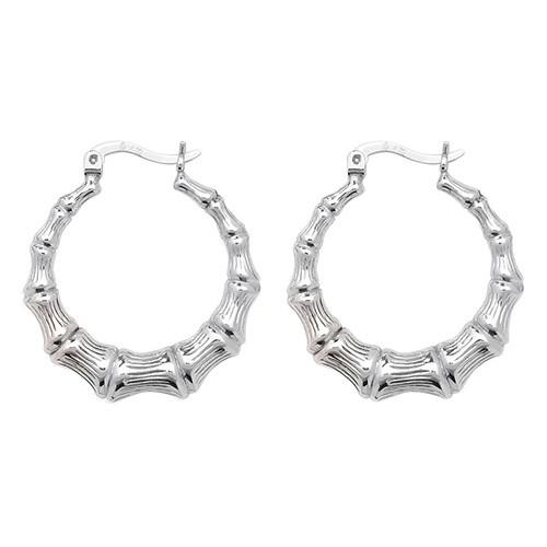 Sterling Silver Bamboo Creole hoop Earrings