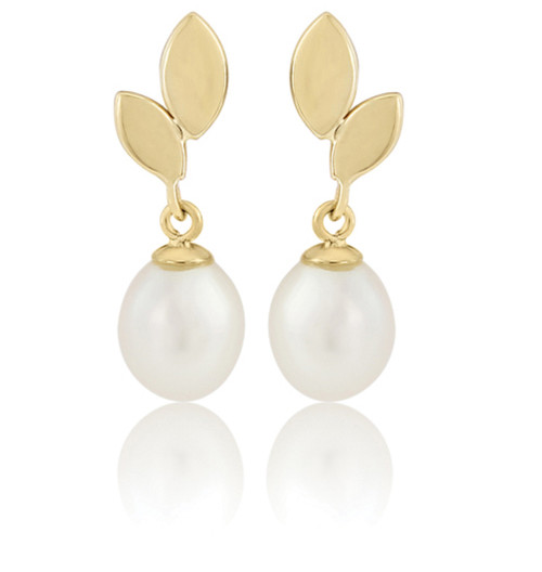 9ct Yellow Gold Leaf shaped Cultured Oval Pearl Drop Earrings