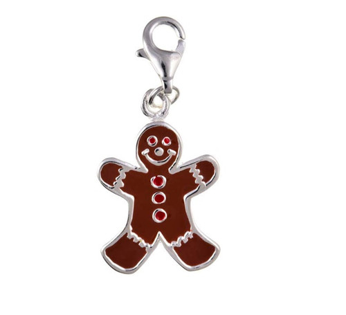 Sterling silver Clip on Enamelled Gingerbread man charm