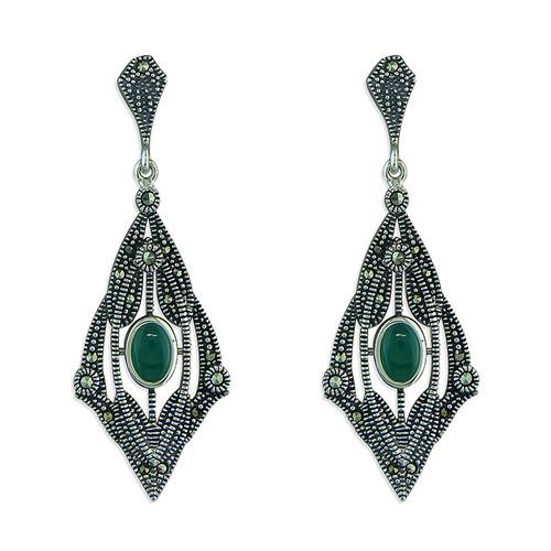 Sterling Silver Marcasite + Green agate Art deco style drop stud earrings