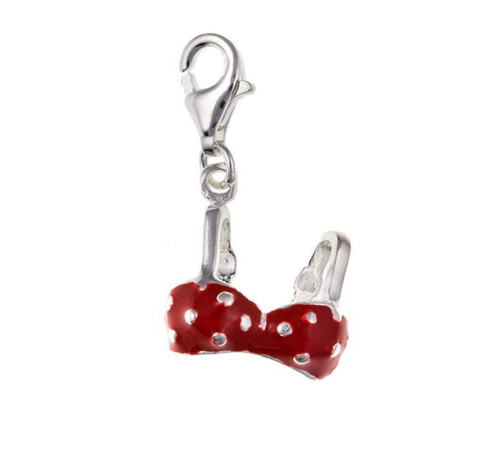 Sterling Silver Red Enamelled Bikini top clip on charm