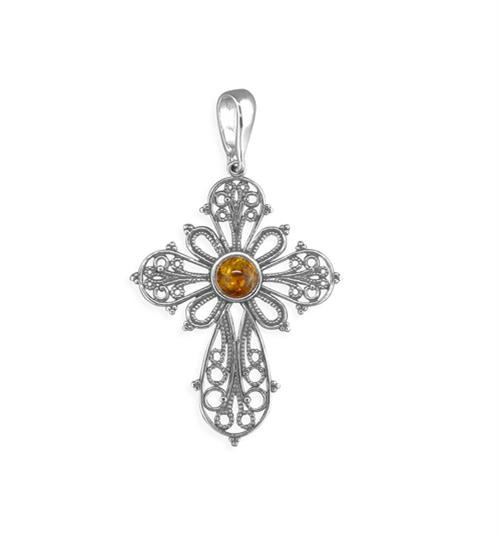 Sterling silver ornate cognac amber set cross pendant 2.1g