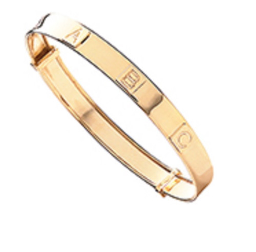 9ct Gold Babies Engraved ABC Expanding Bangle 2.1g