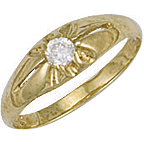 9ct gold Cubic Zirconia kids Gypsy style ring 1.1g