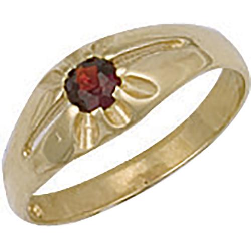 9ct gold Garnet Cubic Zirconia kids Gypsy style ring 1.1g