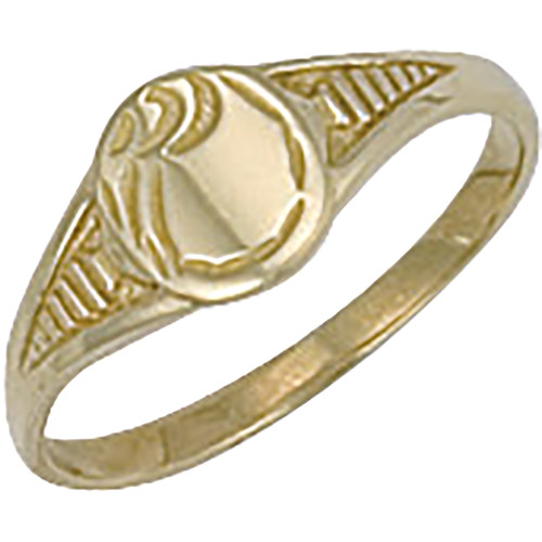 9ct gold kids small oval engraved signet ring 1g