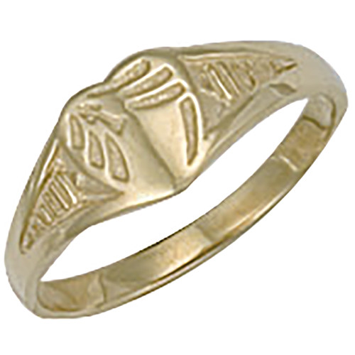 9ct gold kids small Heart shaped engraved signet ring 1g