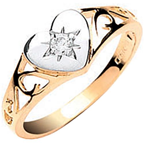 9ct gold Heart shaped Cubic Zirconia set kids ring 1.2g