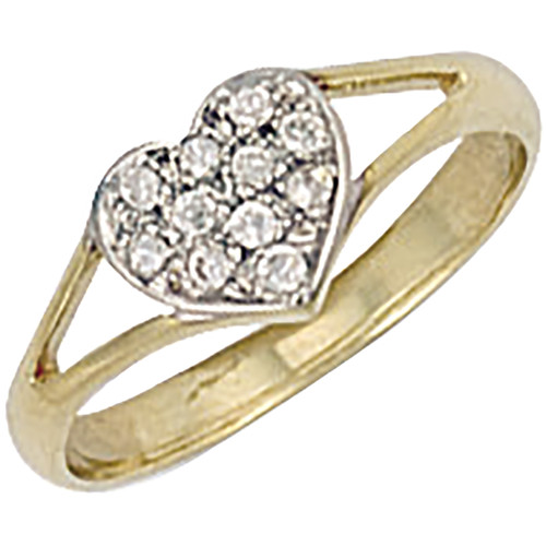 9ct gold Heart shaped Cubic Zirconia kids cluster ring 1.3g