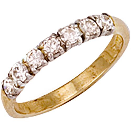9ct Gold Ladies Cubic Zirconia seven stone half eternity ring 2.1g