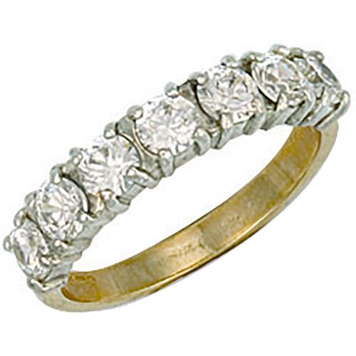 9ct Gold Ladies Cubic Zirconia seven stone half eternity ring  3.2g