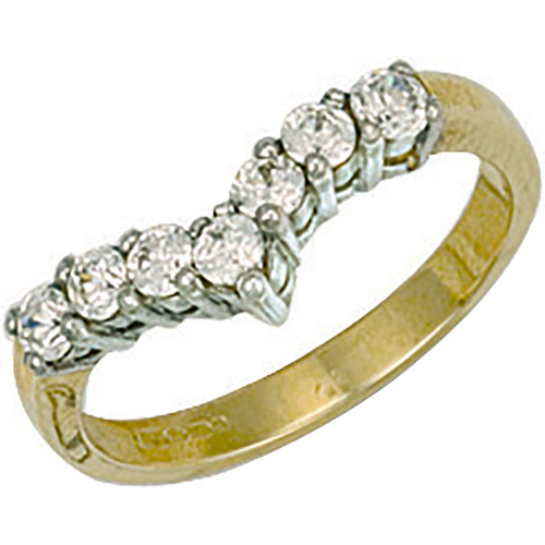 9ct Gold Ladies Cubic Zirconia wishbone ring  3.1g