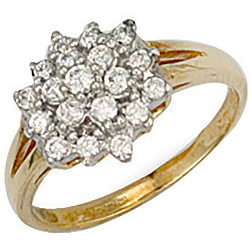 9ct Gold Ladies Cubic Zirconia cluster ring 2.4g