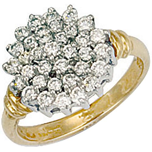 9ct Gold Ladies Cubic Zirconia cluster ring 4.3g