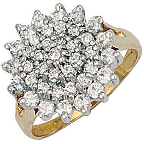 9ct Gold Ladies Cubic Zirconia cluster ring 5.9g