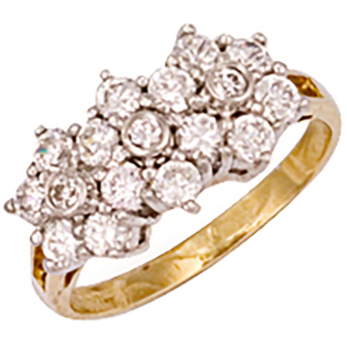 9ct Gold Ladies Cubic Zirconia cluster trilogy ring 3.3g