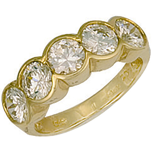 9ct Gold Ladies Cubic Zirconia rubover five stone half eternity ring  3.6g