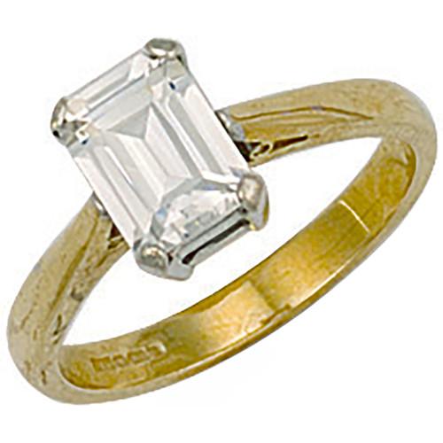 9ct Gold Ladies Emerald cut Cubic Zirconia ring  3.6g