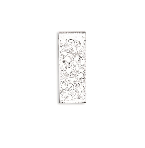 Sterling Silver Floral Engraved Money Clip 22g