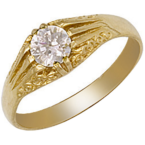 9ct Gold Gents Cubic Zirconia single stone gypsy style ring 3.1g