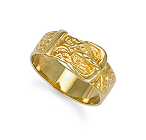 10mm 9ct Gold Patterned Buckle ring 5.1g