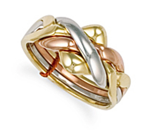 9ct Gold Four piece three colour Puzzle Ring 6.5g