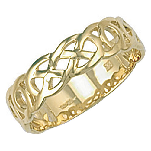 9ct Yellow Gold woven Celtic knot Band ring 3g