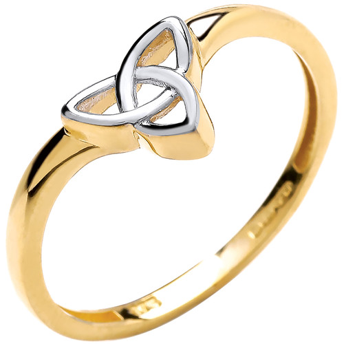 9ct Yellow and white Gold Ladies Triquetra wishbone ring 1.3g