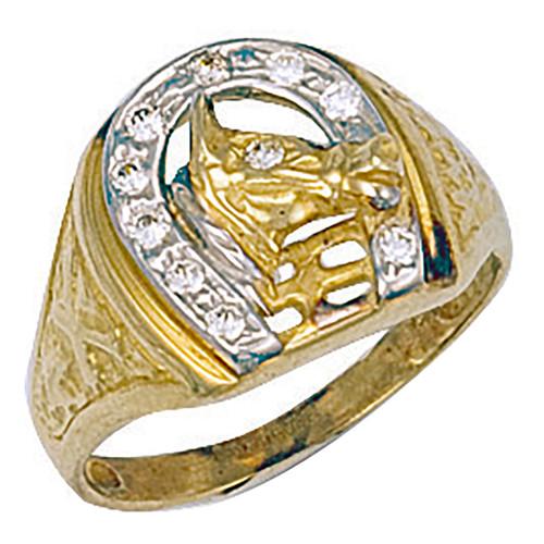 9ct Gold Cubic Zirconia Horses Head in Horseshoe ring 4.2g