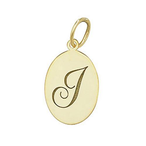 9ct Gold oval Engraved Initial letter J medallion pendant 0.5g