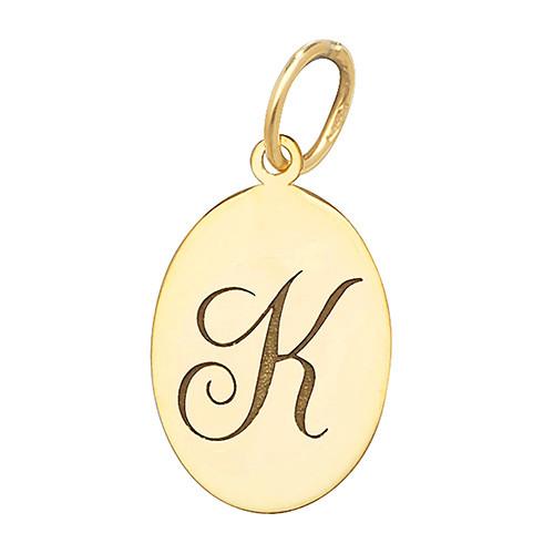 9ct Gold oval Engraved Initial letter K medallion pendant 0.5g