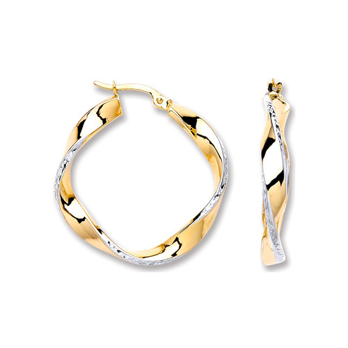 2.7cm wide 9ct white and yellow gold twisted hoop earrings 2g