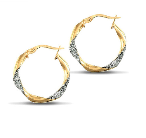 9ct Yellow and white Gold Crushed Ice Glitter hoop earrings 1g