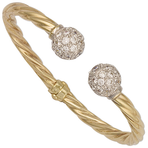 9ct Gold Ladies 5mm thick Cubic Zirconia Hinged Torque Bangle 12g