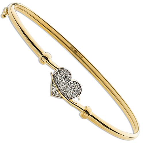 9ct Gold Cubic Zirconia Ladies Hinged Heart Bangle 3.7g